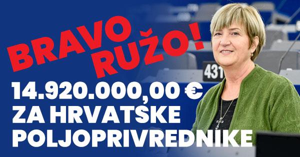 Ruža Tomašić izborila 15 mil. € za hrvatske poljoprivrednike